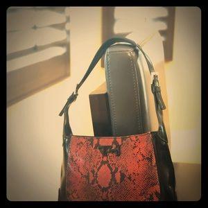 Tommy Hilfiger Red Faux Snakeskin/Leather Bag